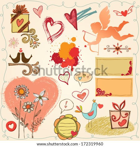 Valentines set with hearts, cupid, birds, flowers and grungy backgrounds elements. Vector set. - stock vector