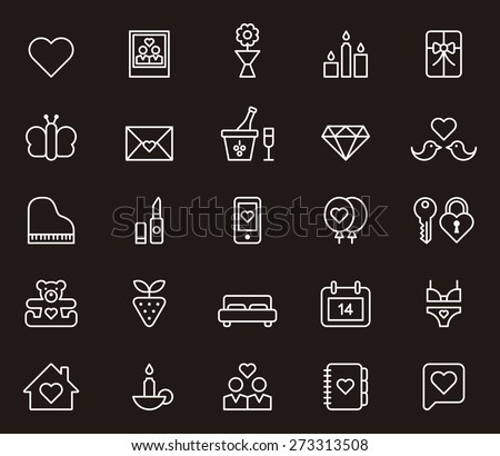 VALENTINES white outlined icon set in black background - stock vector