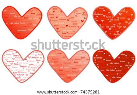 valentines with word Love in several languages vector illustration - stock vector