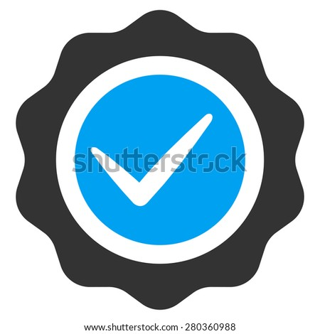 Valid icon from Competition & Success Bicolor Icon Set. This isolated flat symbol uses modern corporation light blue and gray colors. - stock vector