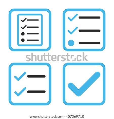 Valid vector bicolor icon. Image style is a flat icon symbol inside a square rounded frame, blue and gray colors, white background. - stock vector