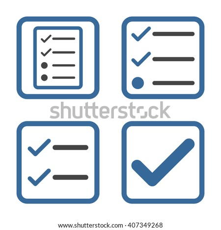 Valid vector bicolor icon. Image style is a flat icon symbol inside a square rounded frame, cobalt and gray colors, white background. - stock vector