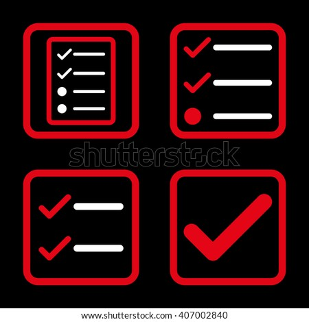 Valid vector bicolor icon. Image style is a flat icon symbol inside a square rounded frame, red and white colors, black background. - stock vector