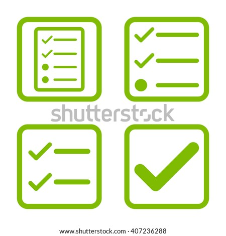 Valid vector icon. Image style is a flat icon symbol inside a square rounded frame, eco green color, white background. - stock vector