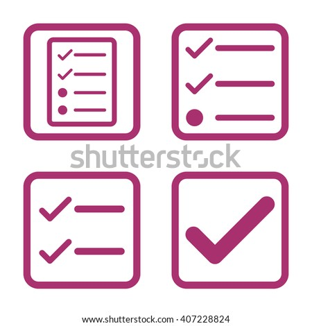 Valid vector icon. Image style is a flat icon symbol inside a square rounded frame, purple color, white background. - stock vector