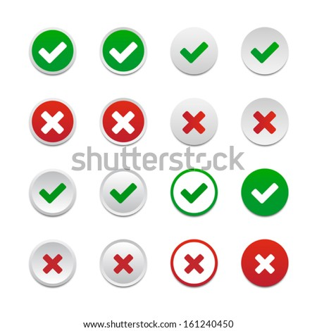 Validation buttons - stock vector