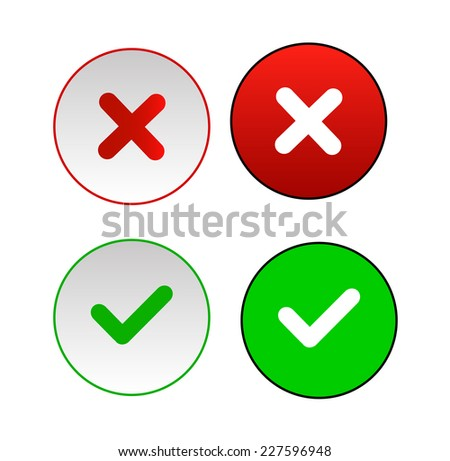 Validation buttons. Vector icon illustrator EPS 10 - stock vector