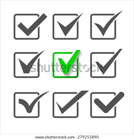 Validation icons set of nine different check marks.  - stock vector