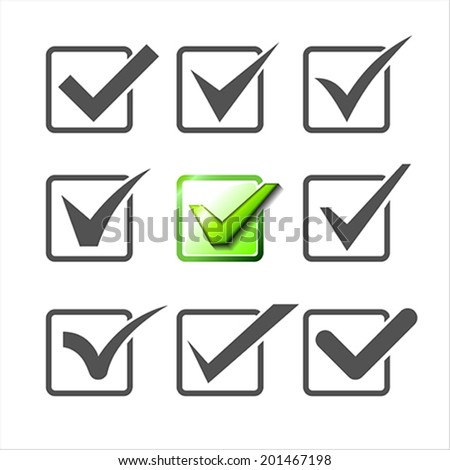 Validation icons set of nine different check marks.  Vector Illustration. - stock vector