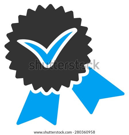 Validation seal icon from Competition & Success Bicolor Icon Set. This isolated flat symbol uses modern corporation light blue and gray colors. - stock vector