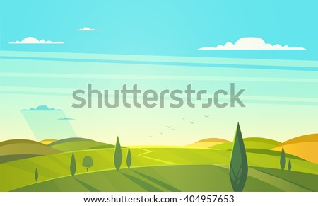 Valley landscape. Vector illustration.