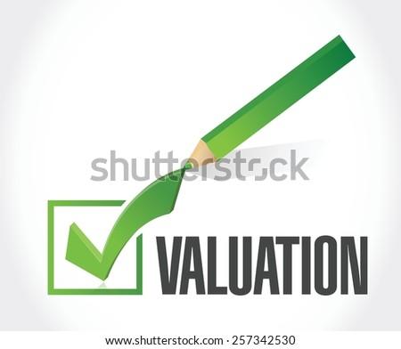valuation check mark illustration design over a white background - stock vector