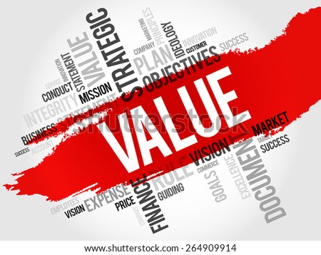 Value word cloud, business concept - stock vector