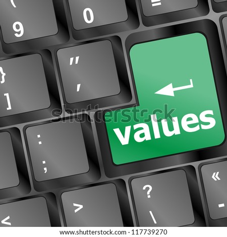 Values sign button on keyboard with soft focus - stock vector