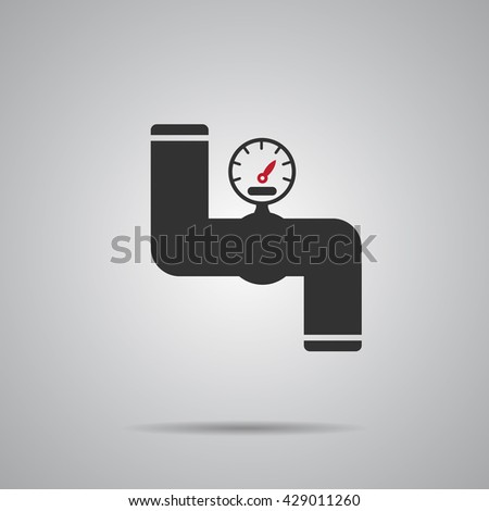 Valve Gas Pipe Taps Icon. Pipeline Valve red Icon Vector Illustration - stock vector