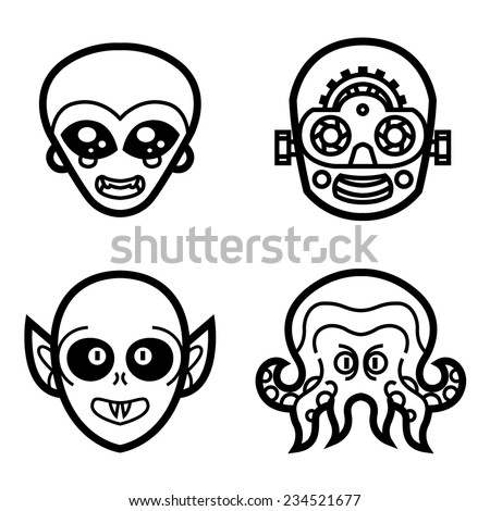 vampire, alien, robot, octopus monster - cute smile masks - vector halloween art for tattoo, icons, logos, invitations or cards