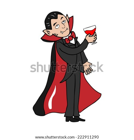 Vampire drinks blood cartoon vector
