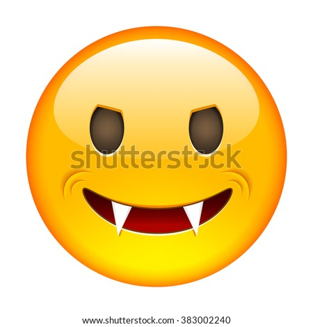 Vampire Emoticon. Smile icon. Isolated Vector Illustration on White Background - stock vector