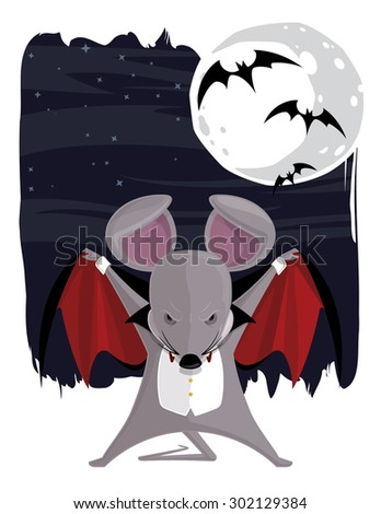 Vampire Halloween Mouse. Vector eps file of a vector cartoon mouse dressed as a vampire for Halloween.  - stock vector