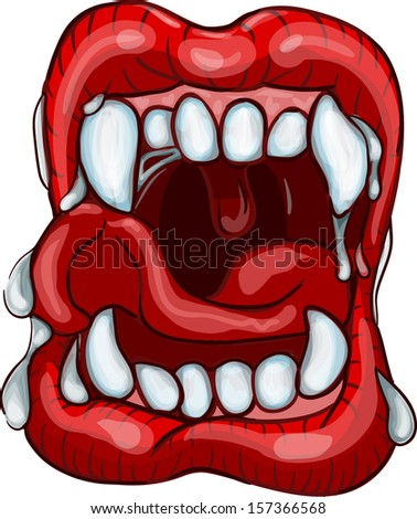 Vampire lips with fangs haloween - vector illustration  - stock vector