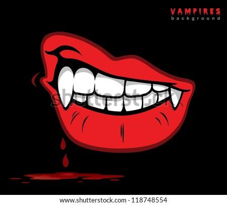 Vampire lips with fangs - vector illustration - stock vector