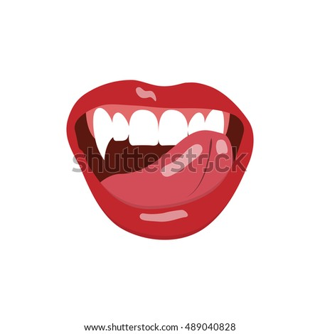 Vampire mouth isolated on white background. Vector