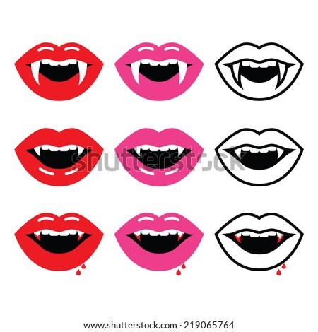 Vampire mouth, vampire teeth vector icons set  - stock vector