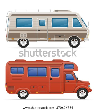 van caravan camper mobile home vector illustration isolated on white background - stock vector