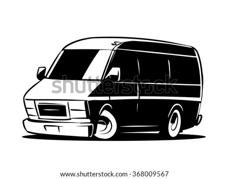 Van clipart black and white vector illustration