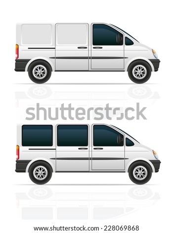 van for the carriage of cargo and passengers vector illustration isolated on gray background - stock vector
