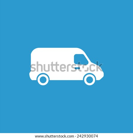 Van icon, isolated, white on the blue background. Exclusive Symbols  - stock vector
