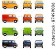 Van (part 5). Set of the car icons in vector (Set #5). In the side, front and back views.   - stock vector