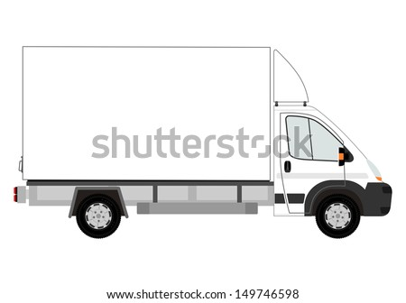 Van with space for any text on a white background. - stock vector