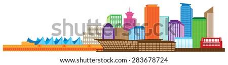 Vancouver British Columbia Canada City Skyline Color Vector Illustration - stock vector