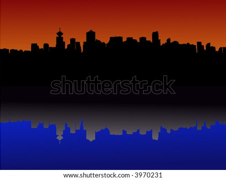 Vancouver skyline reflected at sunset illustration