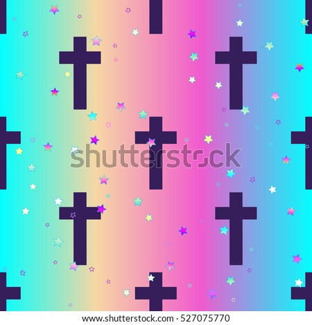 Vanilla cross.Spooky seamless pattern. Halloween wrapping paper background in neon pastel colors. Cute gothic style. Colorful rainbow stars.