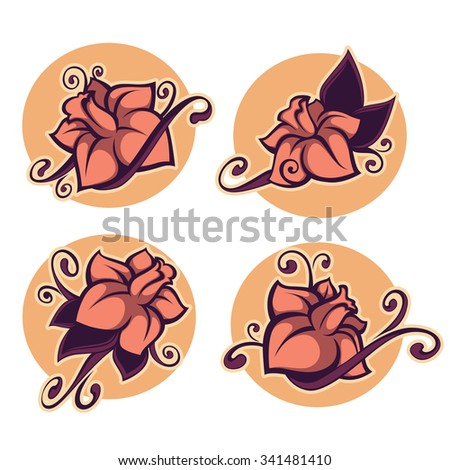 vanilla flower, vector stickers and emblems in retro style - stock vector