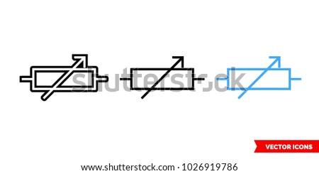 Variable Resistor Symbol Icon 3 Types Stock Vector 1026919786 ...