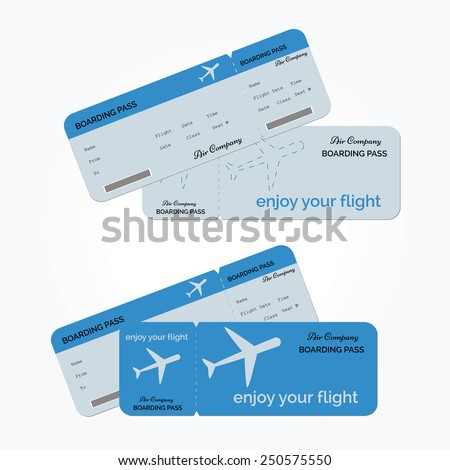 Variant of air ticket isolated on white background. Vector illustration - stock vector