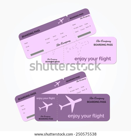 Variant of air ticket isolated violet color on a white background. Vector illustration - stock vector