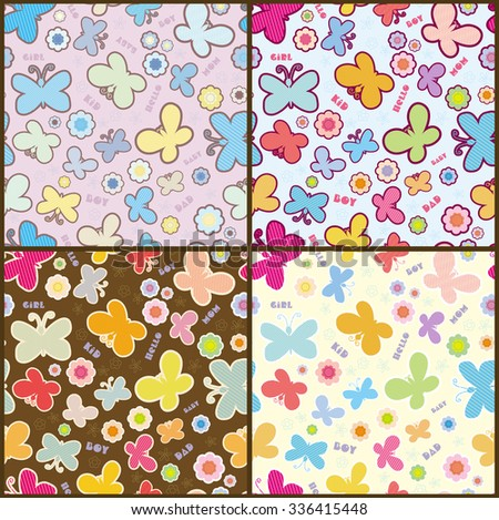 Variants seamless pattern on the theme of childhood. Multi-colored stylized flowers and butterflies on a background of randomly arranged. - stock vector