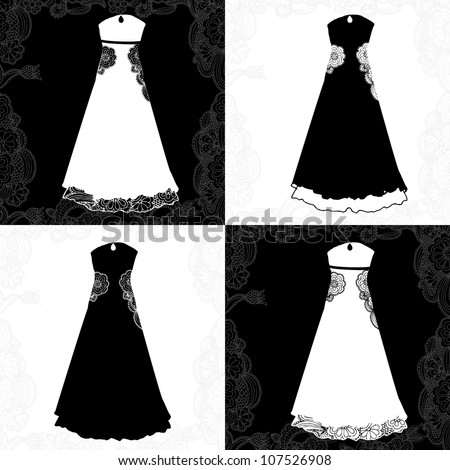 variations of wedding gown - stock vector
