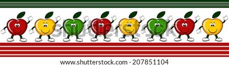 Varicolored  apples ,border. - stock vector