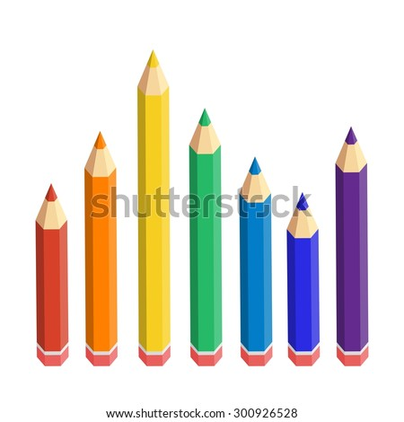 Varicolored color pencils set isolated on white background. - stock vector