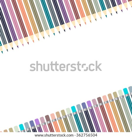 Varicolored color pencils set isolated on white background. Office supplies. Abstract background line of colour pencil illustration