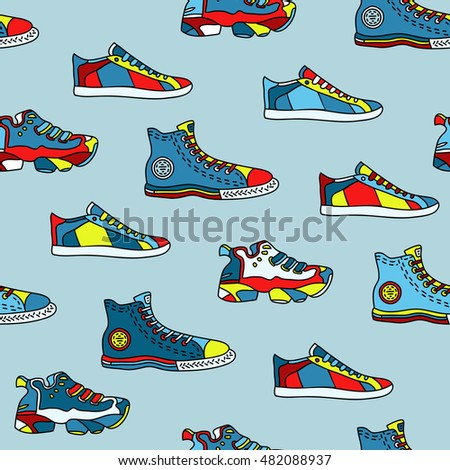 Varicolored isolated sneakers, shoes and gumshoes, footwear set. Seamless pattern. Sport, run, walk go. Graphic design plane flat line stylish elements. Contour. Travel, journey, trip. Red and blue