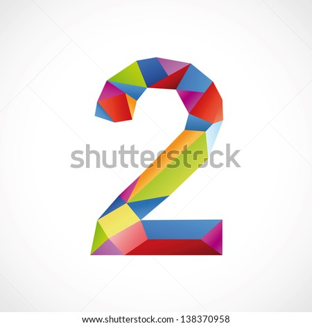 Varicolored number 2. Vector illustration - stock vector
