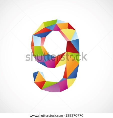 Varicolored number 9. Vector illustration - stock vector