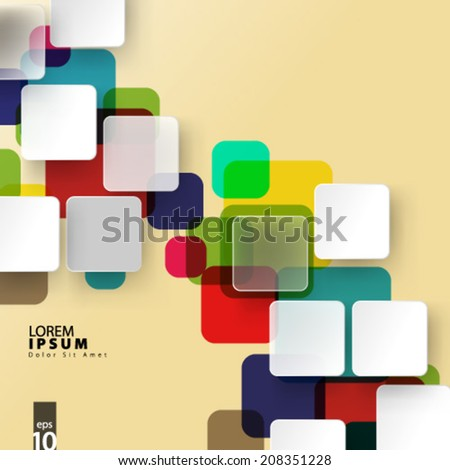 Varicolored Squares and Shapes Design Background - stock vector