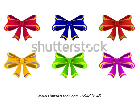 Varicoloured bows. A few bright bows of different color are on a white background.